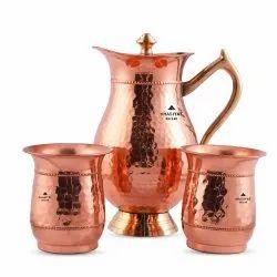 Khasiyat Bazaar Pure Copper Water Jug Set