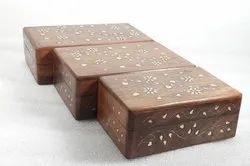 Rectangle Polished Brass Inlays Sheesham Wood Jewellery Box