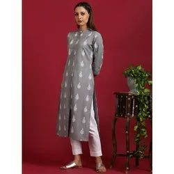 Janasya Women''s Grey Cotton Flex Kurta (JNE3573)