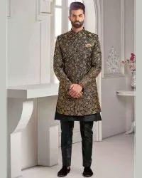 Wedding Wear Men Golden Printed Italian Silk Indowestern - 4320