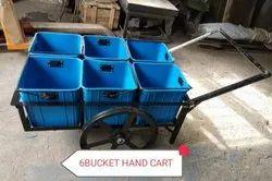 6 Bucket Hand Cart Trolley, Load Capacity: 100 Kg