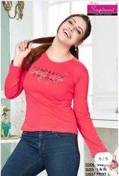 Sayanara Round Ladies Full Sleeve Printed Cotton T Shirt, Size: L, XL