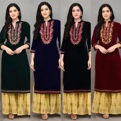 44 inch Banded Collar Velvet Kurti With Sharara, Size: 38-40-42-44
