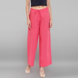 Janasya Women's Pink Pure Cotton Palazzo Pant(BTM047)