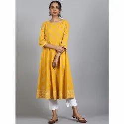 Janasya Women''s Yellow Cotton Kurta (JNE3578)