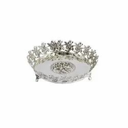 Floral Border Round Silver Plate Tray
