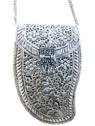 Women Festive Gift Silver Brass Metal Bag Bridal Clutch Girls Party Purse