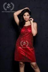 Red Western Dress With Beads And Zardozi