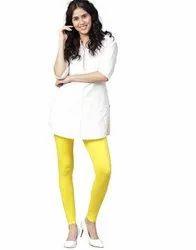 Jaipur Kurti Women Yellow Solid Cotton Lycra Leggings