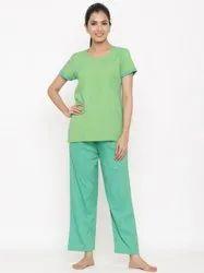 Jaipur Kurti Women Green Yarn Dyed Straight Shirt With Pyjamas Night Suit