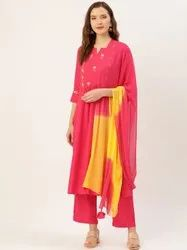 Jaipur Kurti Pink Embroidered Straight Kurta With Palazzo & Dupatta