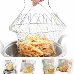 Stainless Steel Chef Basket 12 In 1 Kitchen Tool, For Home, Size/Dimension: 23.5 Cm