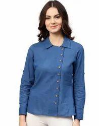 Jaipur Kurti Women Blue Solid Straight Cotton Slub Shirt