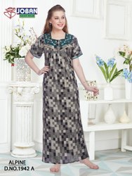 BLACK MIX Alphine Nighty Fabric, Free Size