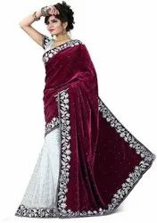 Cotton Banglory Party Wear Women Glamorous Velvet saree, 6.3 m (with blouse piece)