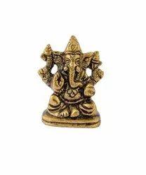 Aluminium Golden Lord Small Ganesha Statue, Packaging Type: Box, Size: 5 X 3.5 Cm