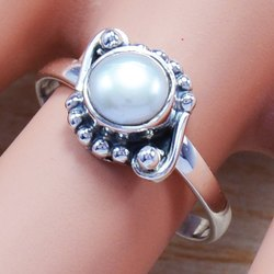 925 Sterling Silver Pearl Gemstone Ring SJWR-528