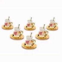 Porcelain Rose Embellished Golden Tea Cup Set (Set Of Six)