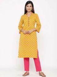 Jaipur Kurti Women Yellow Printed Straight Cotton Kurta