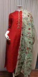 Party Wear Straight Ladies Chanderi Silk Embroidered Kurti, Wash Care: Handwash