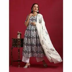Janasya Women's White Cotton Kurta With Palazzo And Dupatta (SET220)