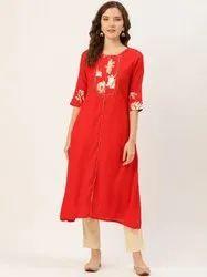 Jaipur Kurti Red Foil Printed A Line Kurta With Solid Beige Cotton Slub Pant