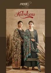 Kimora Heer Kalamkari Tussar Silk With Embroidery Work Designer Salwar Suit Catalog
