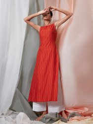 Janasya Women's Orange Rayon Kurta(J0132)