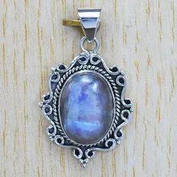 925 Sterling Silver Royal Jewelry Rainbow Moonstone Gemstone Pendant SJWP-101