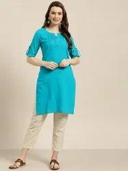 Jaipur Kurti Women Turquoise Blue Solid Straight Cotton Slub Kurta