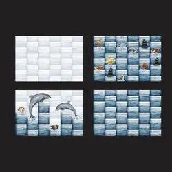 Blue Rectangular Ceramic Bathroom Wall Tiles, Size: 30*45 cm, Thickness: 5-10 mm
