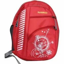 Printed Red Polyester School Bag