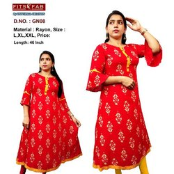 Festive Wear Women GN08 Rayon Printed Long Gown