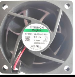 2.5 Inch 12VDC 60x60x25mm Vapo Bearing 2 Wire MF60251VX-10000-A99 DC Fan Sunon