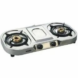 Silver Stainless Steel Two Burner Cook Top, For LPG Gas Stove
