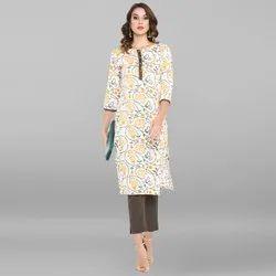 Janasya Women's White Pure Cotton Kurta(JNE3390)