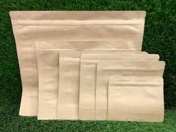 Kraft Paper Stand Up Zipper Pouch Without Window