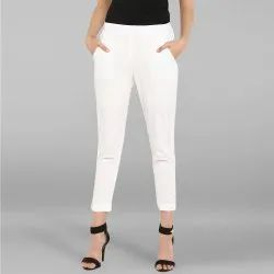 Janasya Women''S White Pure Cotton Narrow Pant(BTM002)