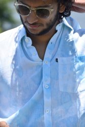 Cotton Simple Collar Men Blue Dyed Casual Beach Wear Shirt, Size: 42