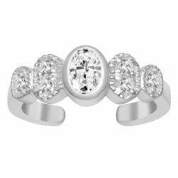 Delicate White Zirconia Gemstone 925 Sterling Silver Openable Dainty Women Ring