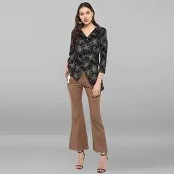 Janasya Women's Black Rayon Top With Trouser(SET127)