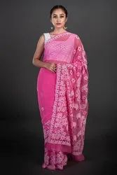 Casual Wear Border Chikan Georgette Saree, 6 m (with blouse piece)