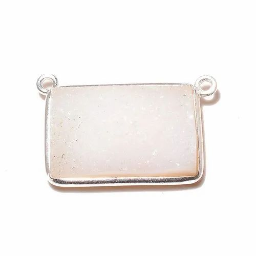 Bezel Gemstone Connector Rose Quartz Gemstone Sterling Silver Small Square Shaped Faceted