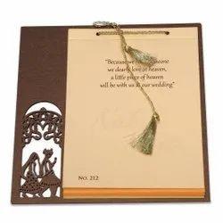 Wooden Wedding Invitation Card With Laser Cut Design - 212MJ, 3 Leaflet
