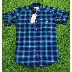 Back Bencher Collar Neck Mens Cotton Check Shirt, Machine wash, Size: M-xxl