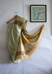 6.5 m Casual Bhagalpuri Handloom Silk Saree, with running blouse piece