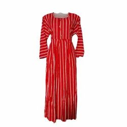 Ladies Striped Rayon Frocks