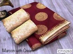 Chanderi Silk Saree With Foil Work