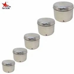 Silver Nutristar Kitchen Box Stainless Steel / Round Cube Shape Set Of 5 Box