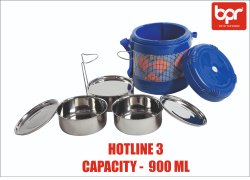 Stainless Steel BPR Hotline Insulated Lunch Pack, For Multipurpose, 3 Ss Containers